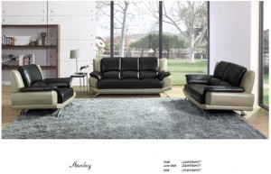 Stanley - 3PC Sofa, Loveseat and Chair in Black and White Leather Gel