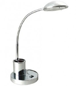 TL6274 - CHROME TABLE LAMP WITH BENDABLE ARM & PEN/ PENCIL HOLDER