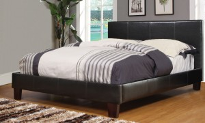 "VOLT DOUBLE BED FRAME 54"" IN BROWN FAUX LEATHER"