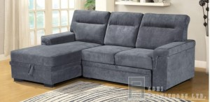 Clara - Pull Out Sofa Bed in Light Grey or Black (Charcoal Color) in Left or Right Hand Facing Chaise