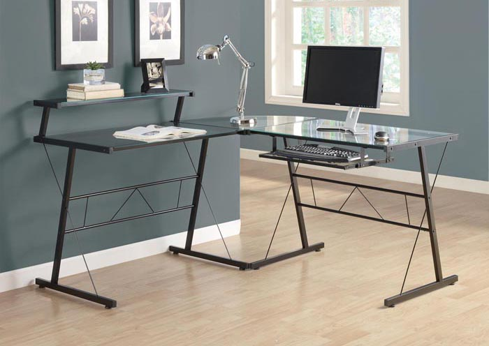 BLACK METAL L SHAPED COMPUTER DESK WITH TEMPERED