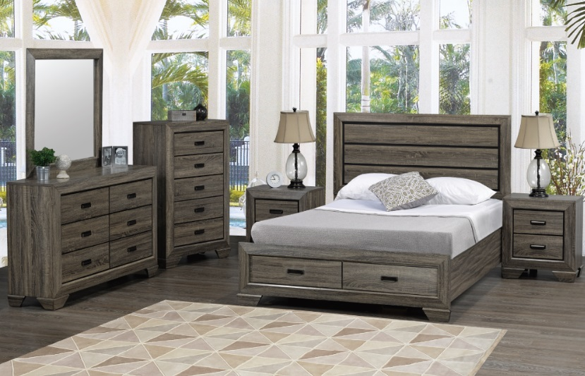 Ottomans Ellis Dark Grey Velvet Finish Storage Chest: 6Pc Queen Bedroom Suite In Distressed Grey Wood