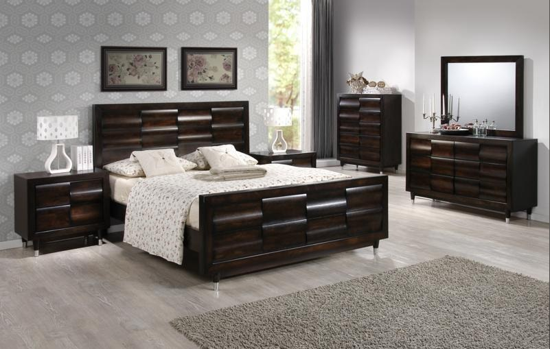 6Pc Queen Bedroom Suite In Antique Mahogany By