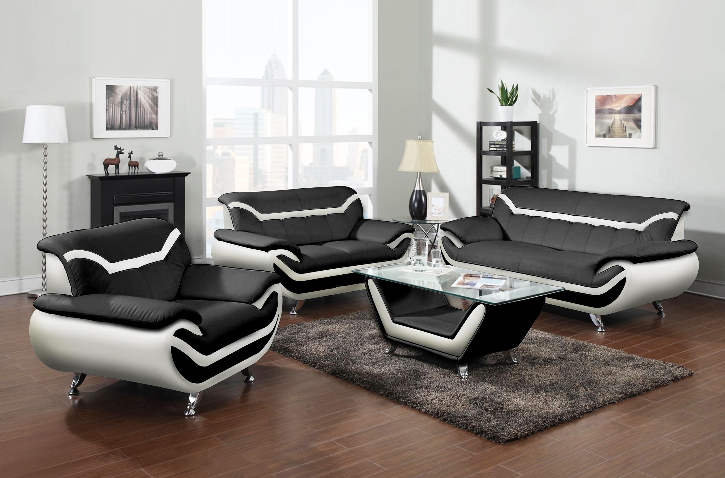 Adona 3pc Leather Gel Sofa Loveseat Amp Chair Black Amp White