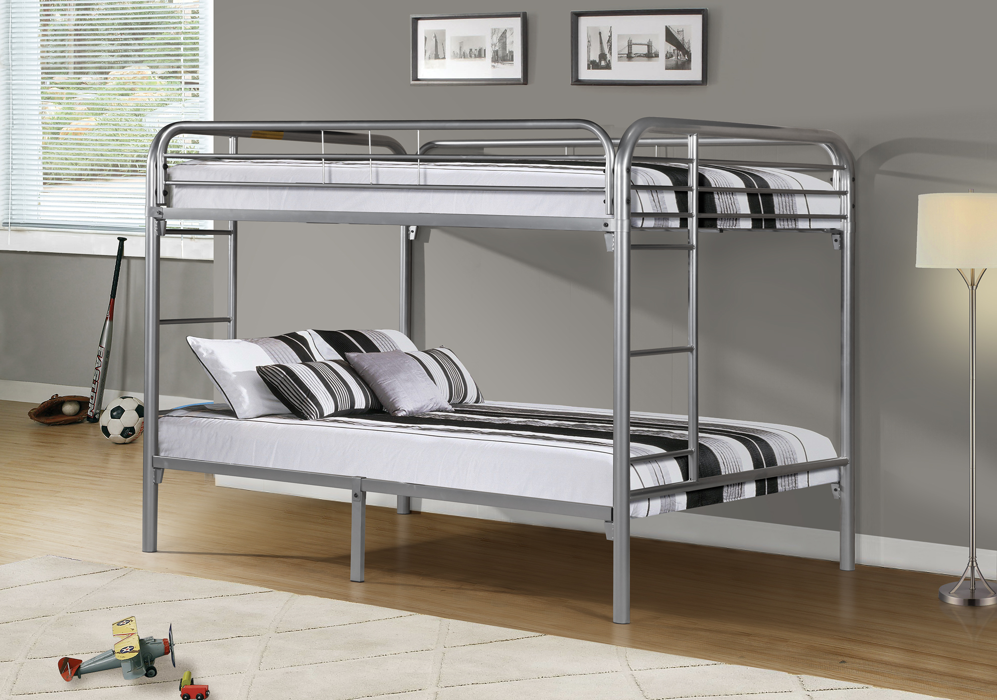 I 2233s Silver Metal Double Double Bunk Bed Frame Brand New