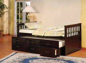 BRADY - ESPRESSO CAPTAIN'S BED WITH TRUNDLE & DRAWERS