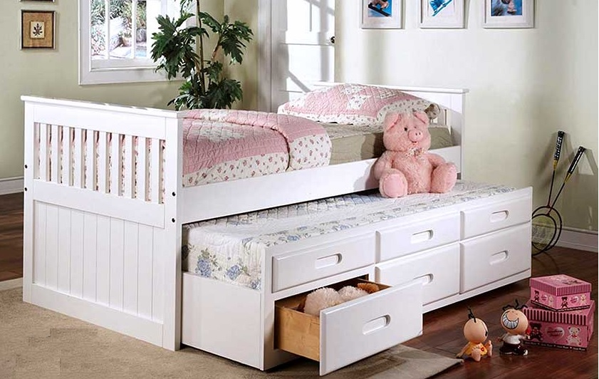 BRADY - CAPTAIN'S BED WITH TRUNDLE AND DRAWERS - WHITE
