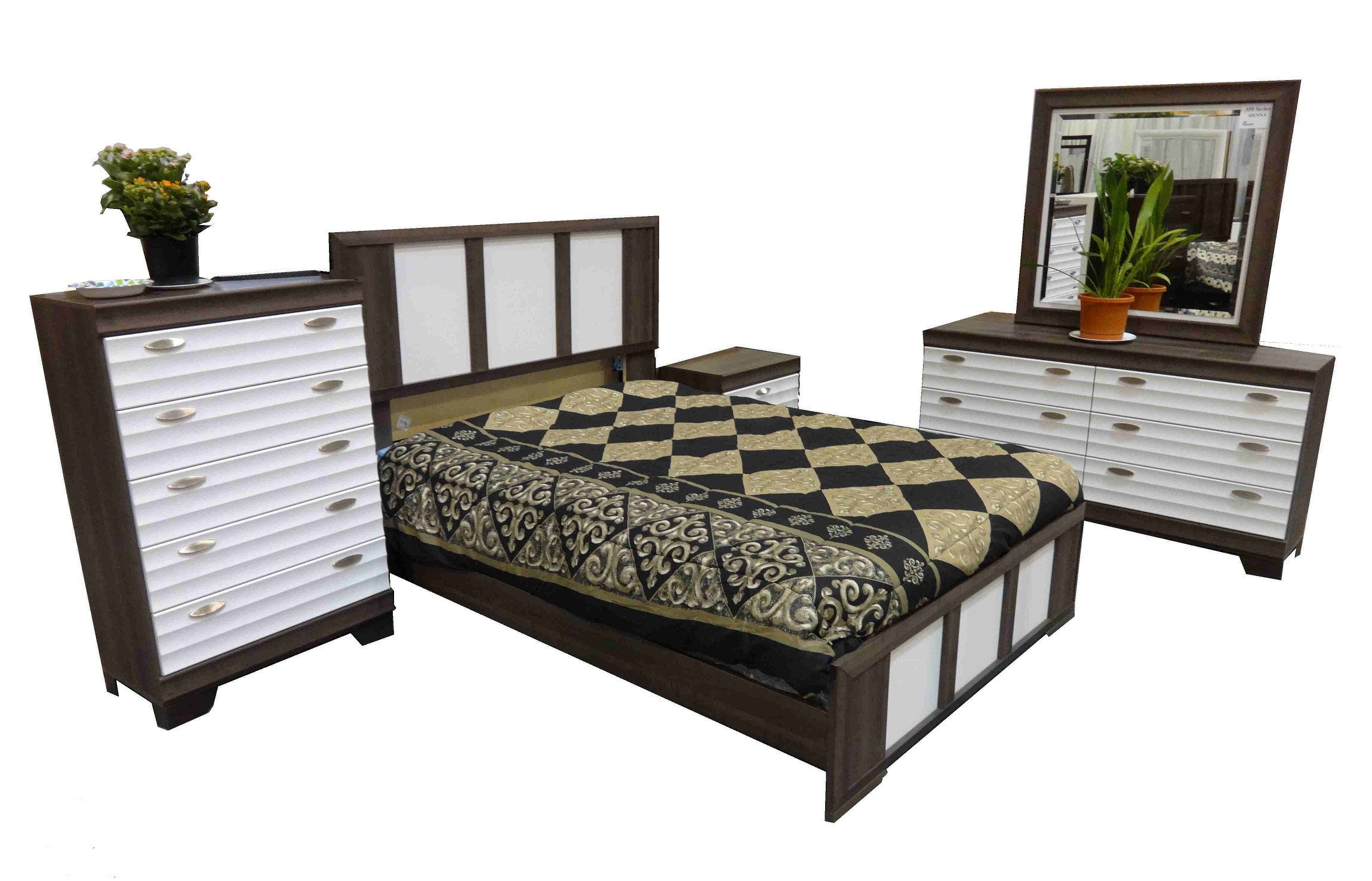 559 SERIES - SIENNA QUEEN BEDROOM SUITE IN 2 TONE