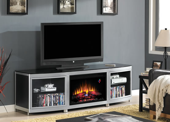 Gotham Electric Fireplace Media Console In Black Brand New