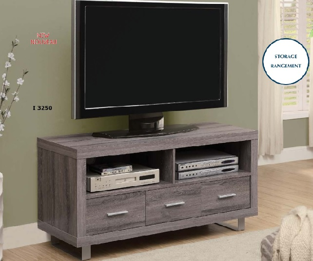 "I 3250 - DARK TAUPE RECLAIMED-LOOK 48""L TV CONSOLE WITH 3 DRAWERS"