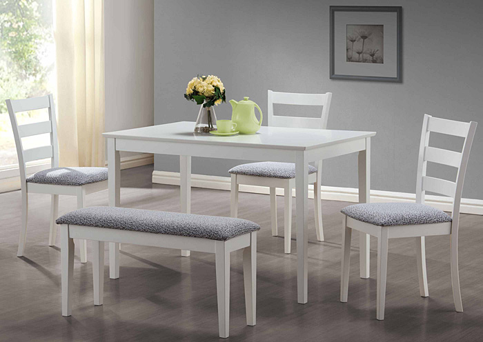 I 1210 - White 5pcs Dining Set with a Bench and 3 Side Chairs