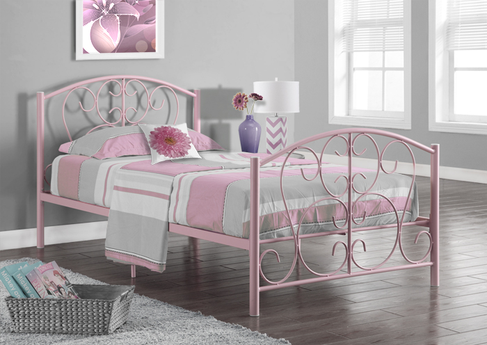 I 2390P - PINK METAL TWIN SIZE BED FRAME ONLY
