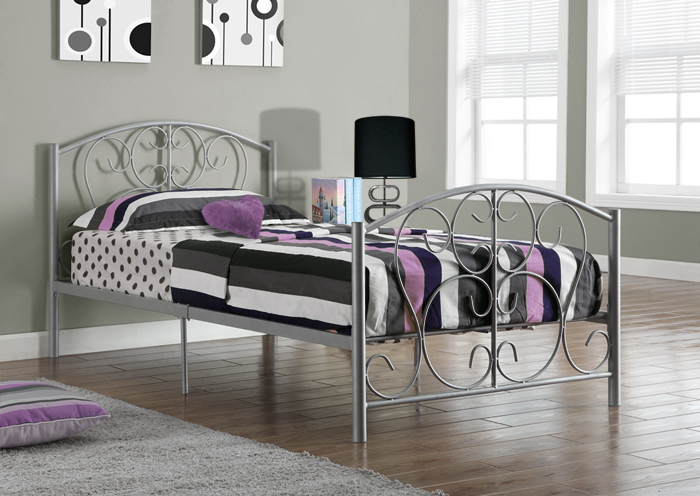 I 2390S - SILVER METAL TWIN SIZE BED FRAME ONLY
