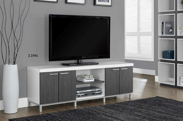 "I 2591 - White / Grey Hollow-Core 60""L TV Console"
