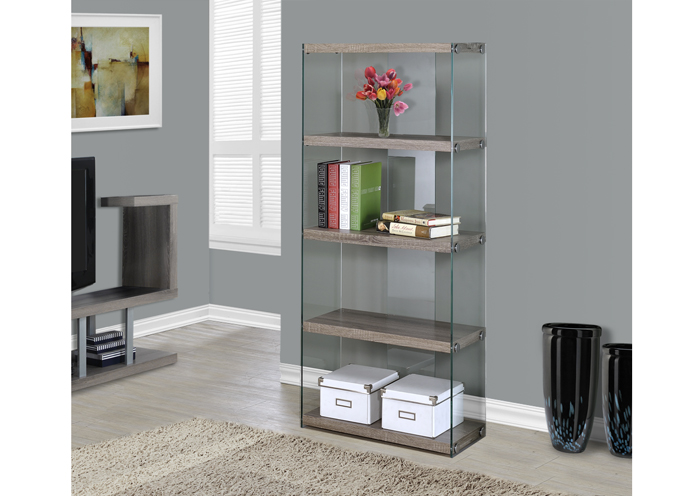 I 3060 - DARK TAUPE RECLAIMED-LOOK / TEMPERED GLASS 60″H BOOKCASE