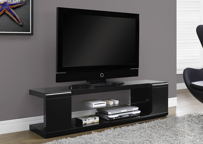 I 3536 - HIGH GLOSSY BLACK 60″L TV CONSOLE WITH TEMPERED GLASS