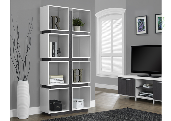 I 7076 - WHITE / GREY HOLLOW-CORE 71″H BOOKCASE
