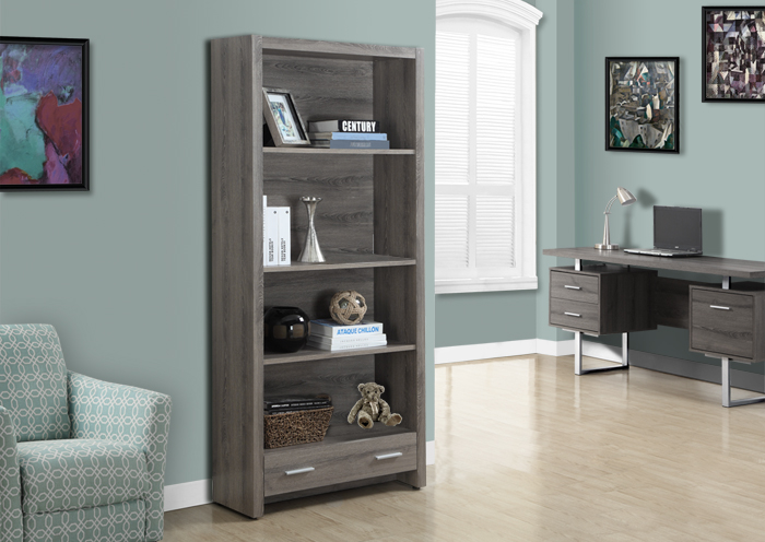 I 7087 - DARK TAUPE RECLAIMED-LOOK 71″H BOOKCASE WITH A DRAWER