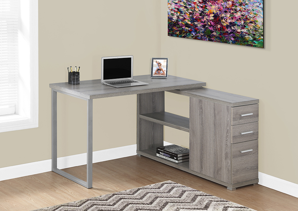 I 7134 - COMPUTER DESK – DARK TAUPE LEFT OR RIGHT FACING CORNER