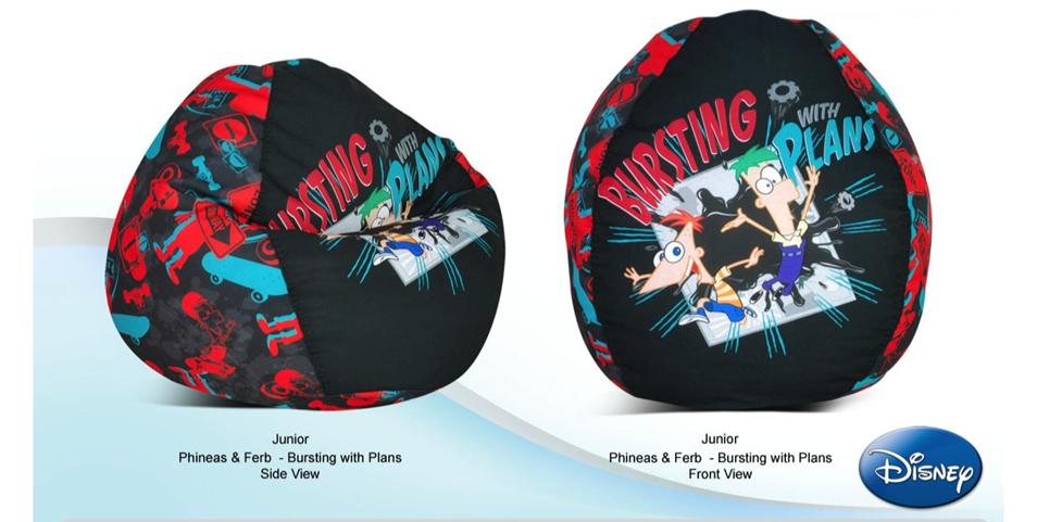 JUNIOR PHINEAS & FERB - BURSTING with PLANS BEAN BAG COVER