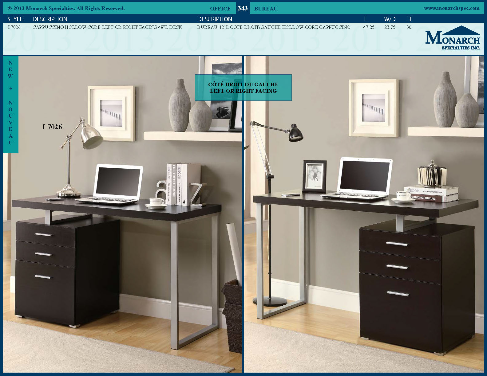 "I 7026 - CAPPUCCINO HOLLOW-CORE RIGHT OR LEFT FACING 48"" DESK"