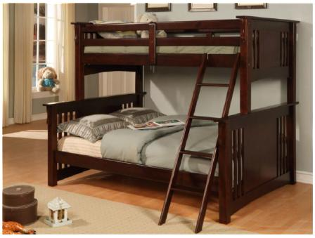 Espresso Stratford Twin Single Double Bunk Bed Sale Price Wood Slats