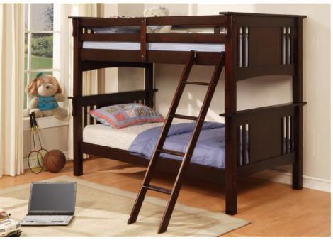 Espresso Stratford Double Bunk Bed Sale Price Wood Slats Winnipeg
