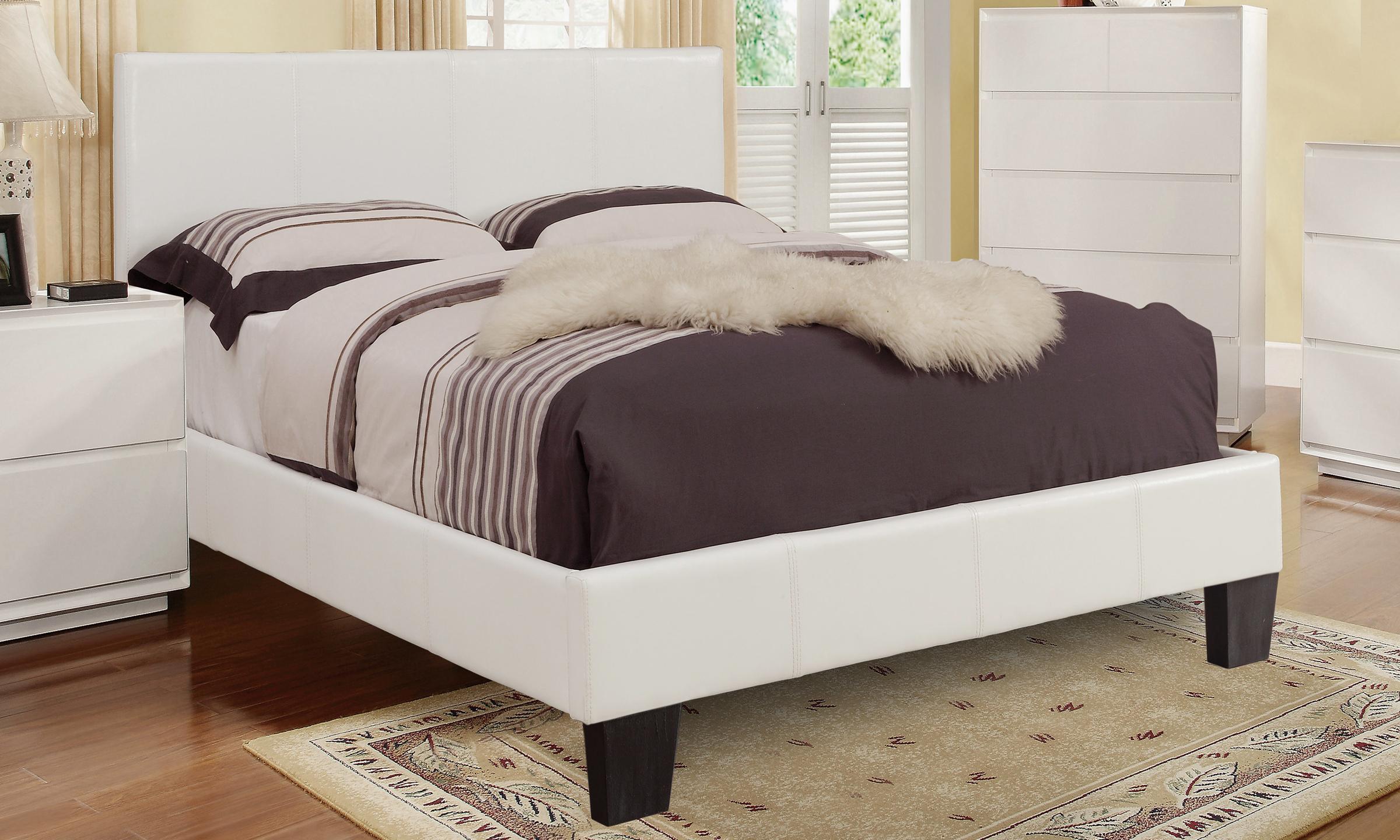 volt 54 bed frame   white faux leather winnipeg furniture
