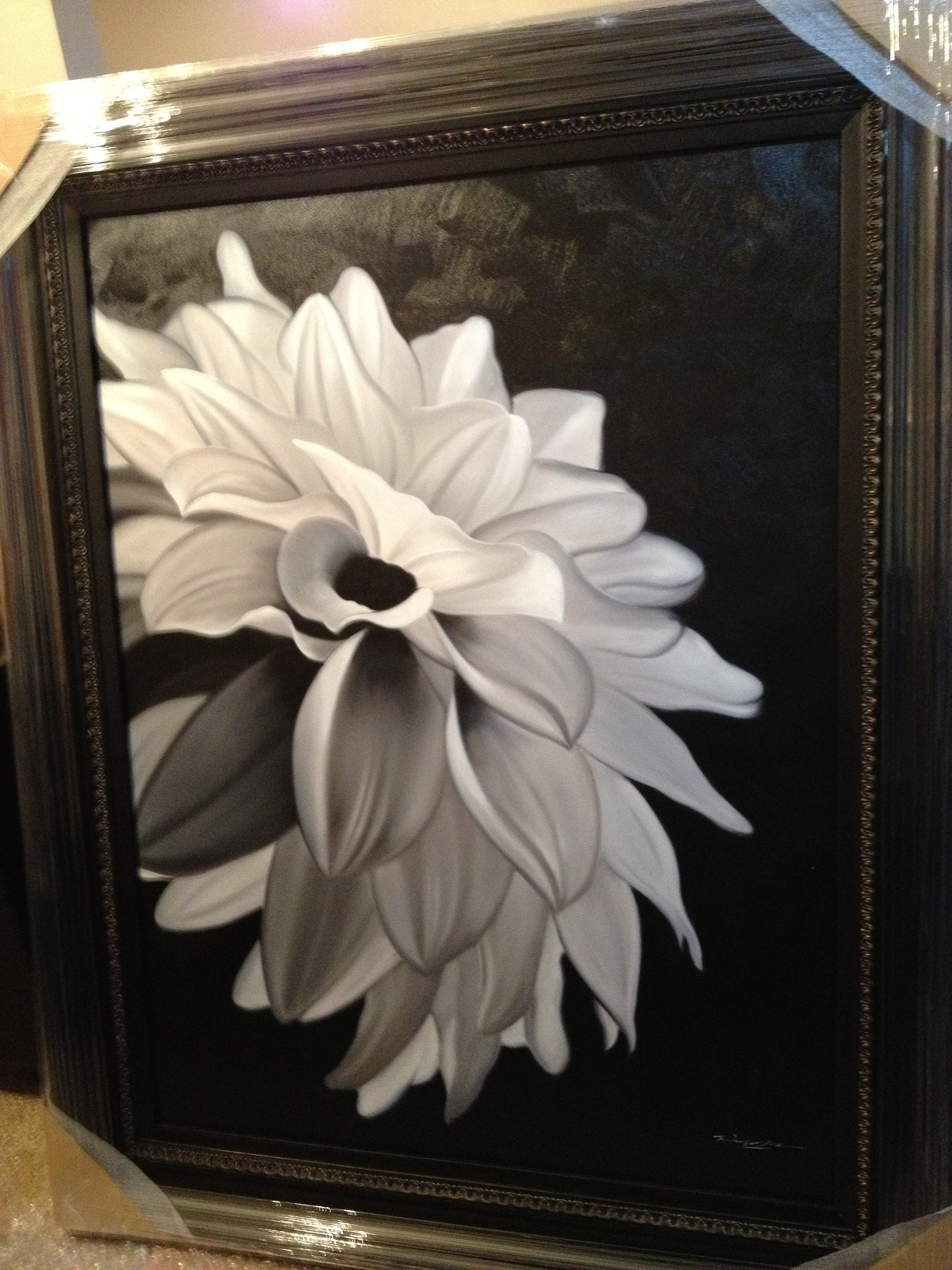 Oil Painting With Frame White Flower Winnipeg Furniture Store
