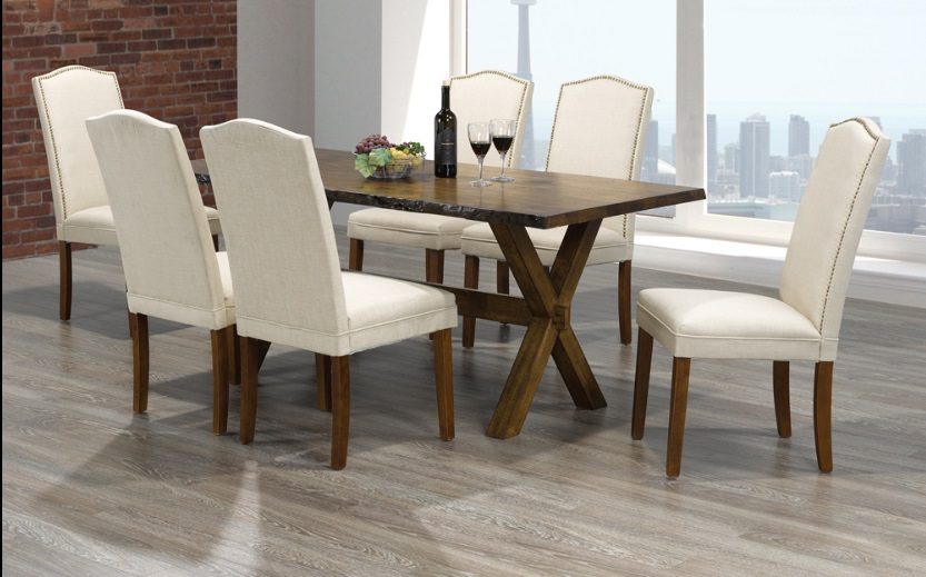 T 3036 230 Dining Table 6 Chairs In Walnut Finish By Titus