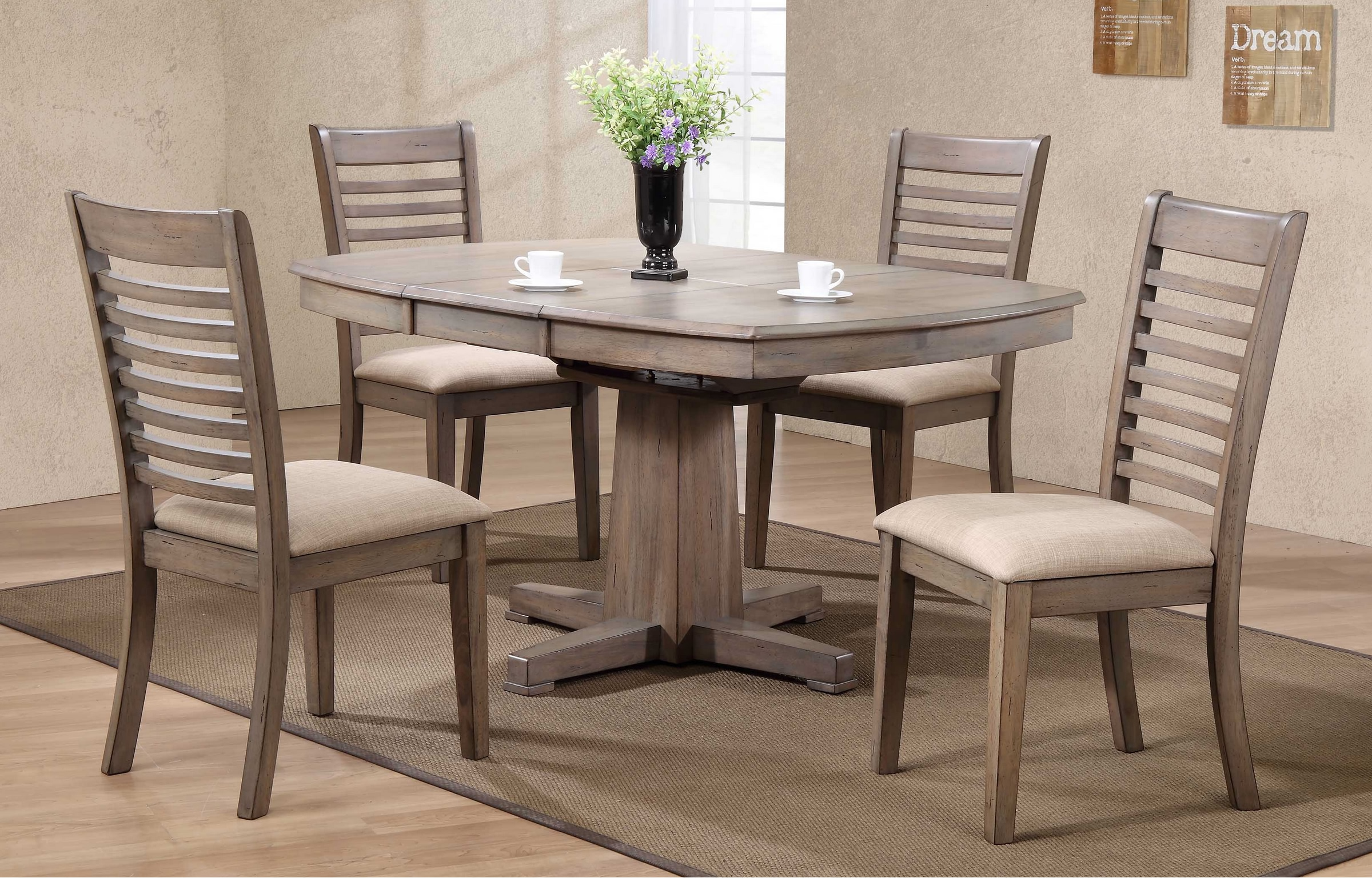 Ventura 57 Quot Pedestal Table Amp 4 Chairs In Grey Wash Finish