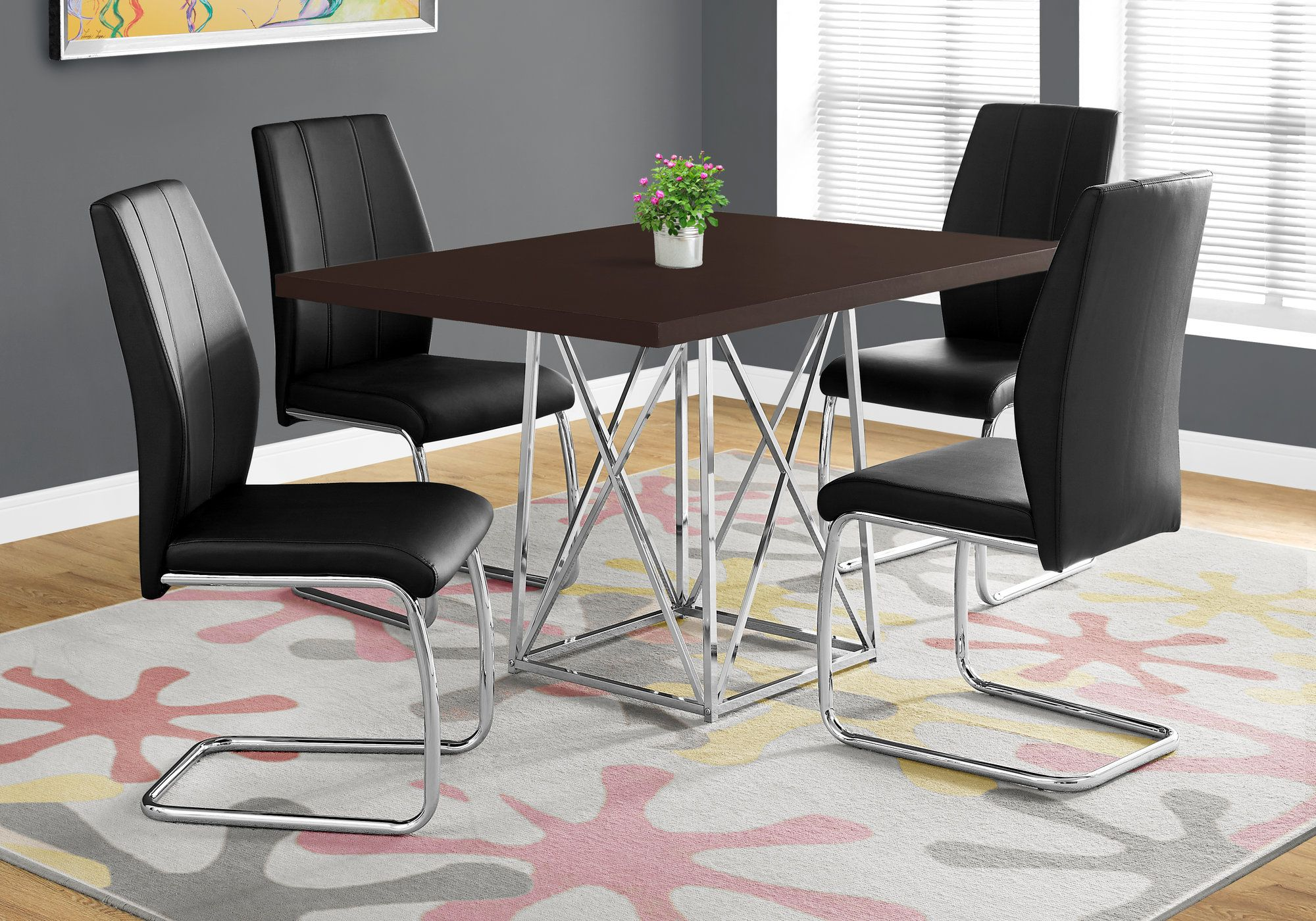 I 1058 Dining Table Only 36 X 48 Cappuccino Chrome Metal