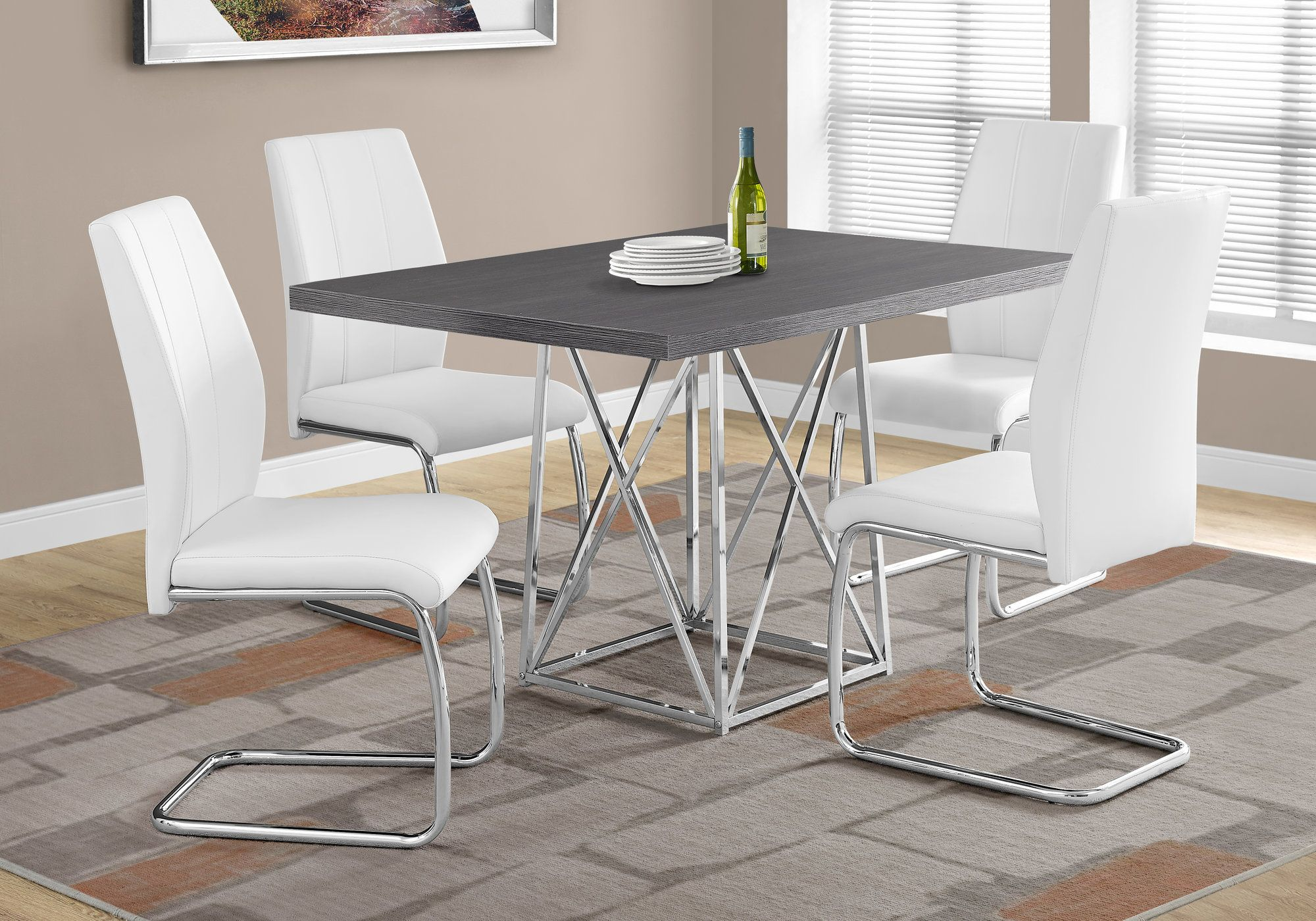 I 1059 Dining Table Only 36 X 48 Grey Chrome Metal