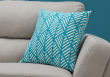 "I 9210 - PILLOW - 18""X 18"" / TEAL GEOMETRIC DESIGN / 1PC"
