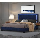 "Lumina 78"" King Platform Bed with Light in Blue by Worldwide Homefurnishings Inc"