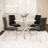 "Solara II 5pc Dining Set, 40"" Dia., Chrome/Black by Worldwide Homefurnishings Inc"