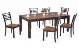 "ACACIA 78"" LEG TABLE & 6 LADDERBACK SIDE CHAIRS  IN ACACIA DARK BY WINNERS ONLY"
