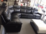 Barcelona - Curve Sectional with Console and Two Recliners in Leather Gel Black