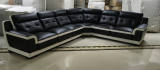 Kinley - Sectional in Black and White Microfibre Leather