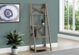 "I 2779 - BOOKCASE - 60""H / DARK TAUPE LADDER WITH 4 SHELVES BY MONARCH SPECIALTIES INC"