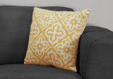 "I 9218 - PILLOW - 18""X 18"" / YELLOW MOTIF DESIGN / 1PC"