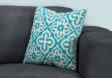 "I 9224 - PILLOW - 18""X 18"" / TEAL MOTIF DESIGN / 1PC"