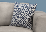 "I 9226 - PILLOW - 18""X 18"" / DARK BLUE MOTIF DESIGN / 1PC"