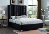 IF - 5621 - King Platform Bed Frame in Black Velvet By International Furniture