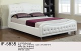 IF-5835 KING PLATFORM BED WHITE WITH CRYSTALS BY INTERNATIONAL FURNITURE
