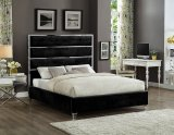 IF-5881 - King Platform Bed Frame in Black Velvet By International Furniture