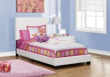 5911T - BED FRAME – TWIN SIZE / WHITE LEATHER-LOOK
