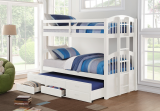 KINGSTON TWIN / TWIN BUNK BED with CAPTAIN TRUNDLE BED WITH DRAWERS IN WHITE