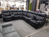 Lisbon - 4PC Power Recliner Sectional in Leather Gel Black with LED Lights