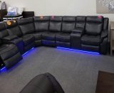 Marcelo 4Pc Power Recliner Sectional with 2 Consoles in Black Leather Gel